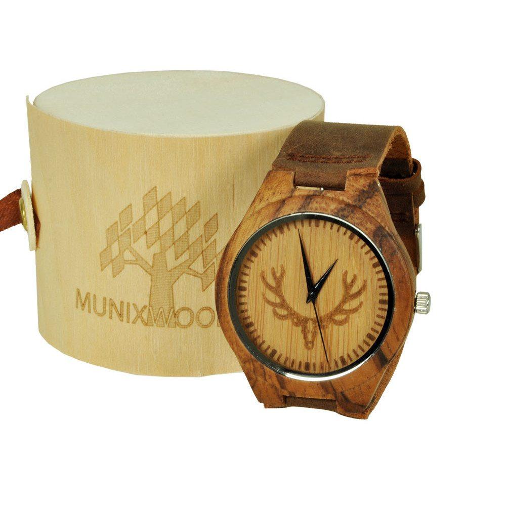 Munixwood rannekello nahkarannekkeella