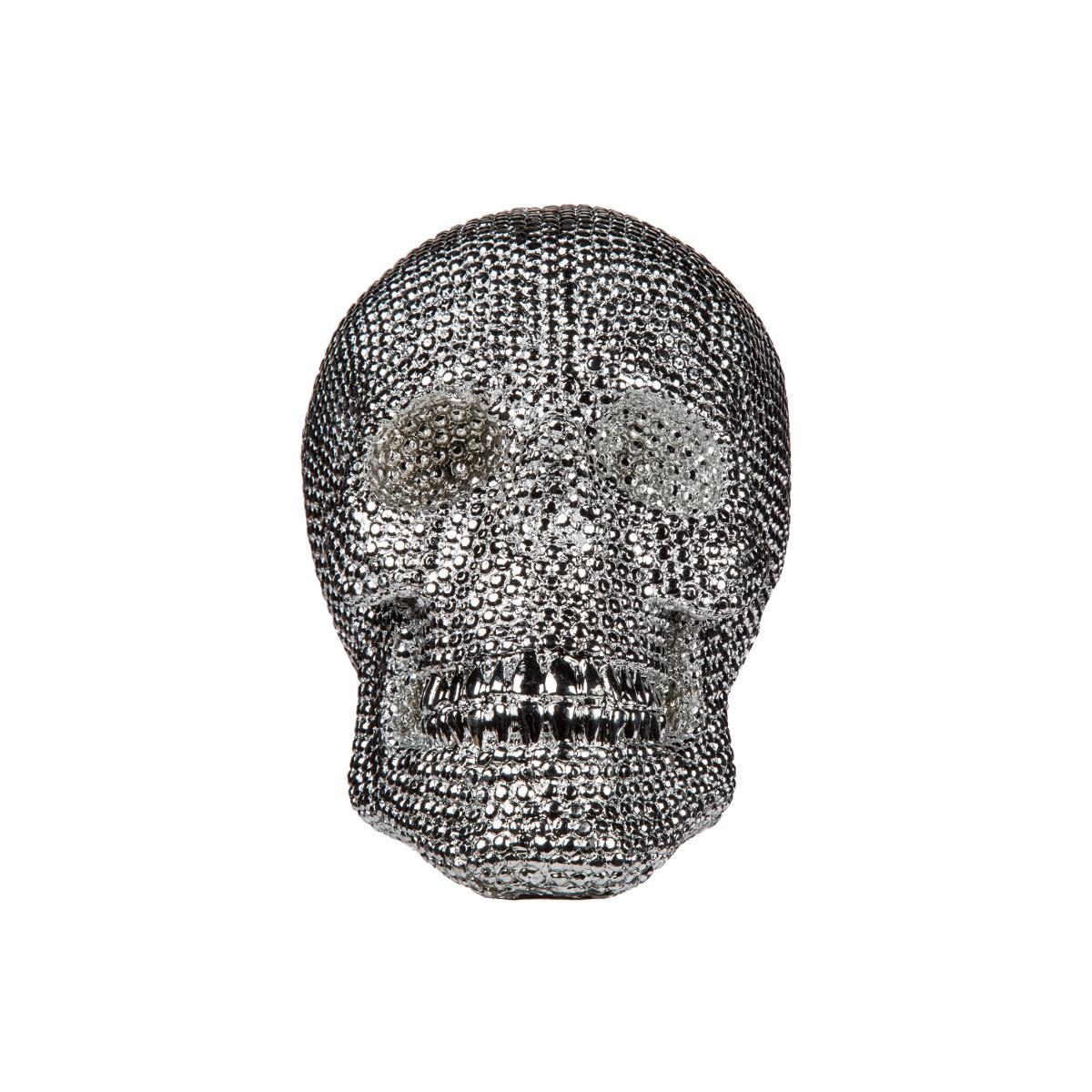 decorational skull - glimmering silver