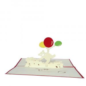3D-syntymäpäiväkortti nallemotiivilla