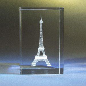 Eifelturm im Glasblock mit individualisierbarem Textfeld