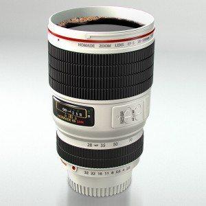 Kameraobjektiv - Trinkbecher weiß