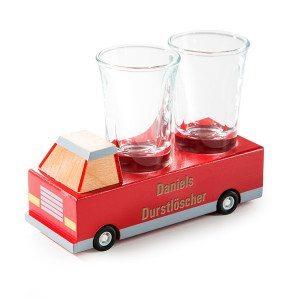 Durstlöscher - Holzauto mit Shotglas