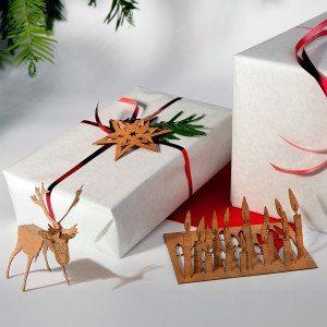 Weihnachtskarten aus Holz